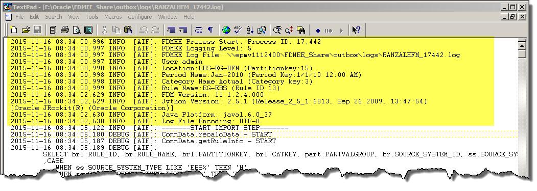 FDMEE Sample Process Log