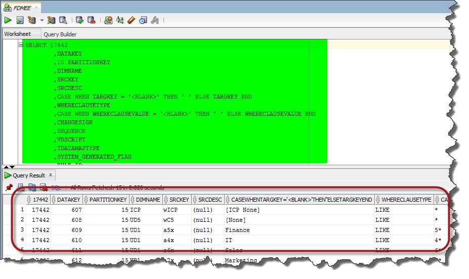 FDMEE Modified SQL statement for Debugging